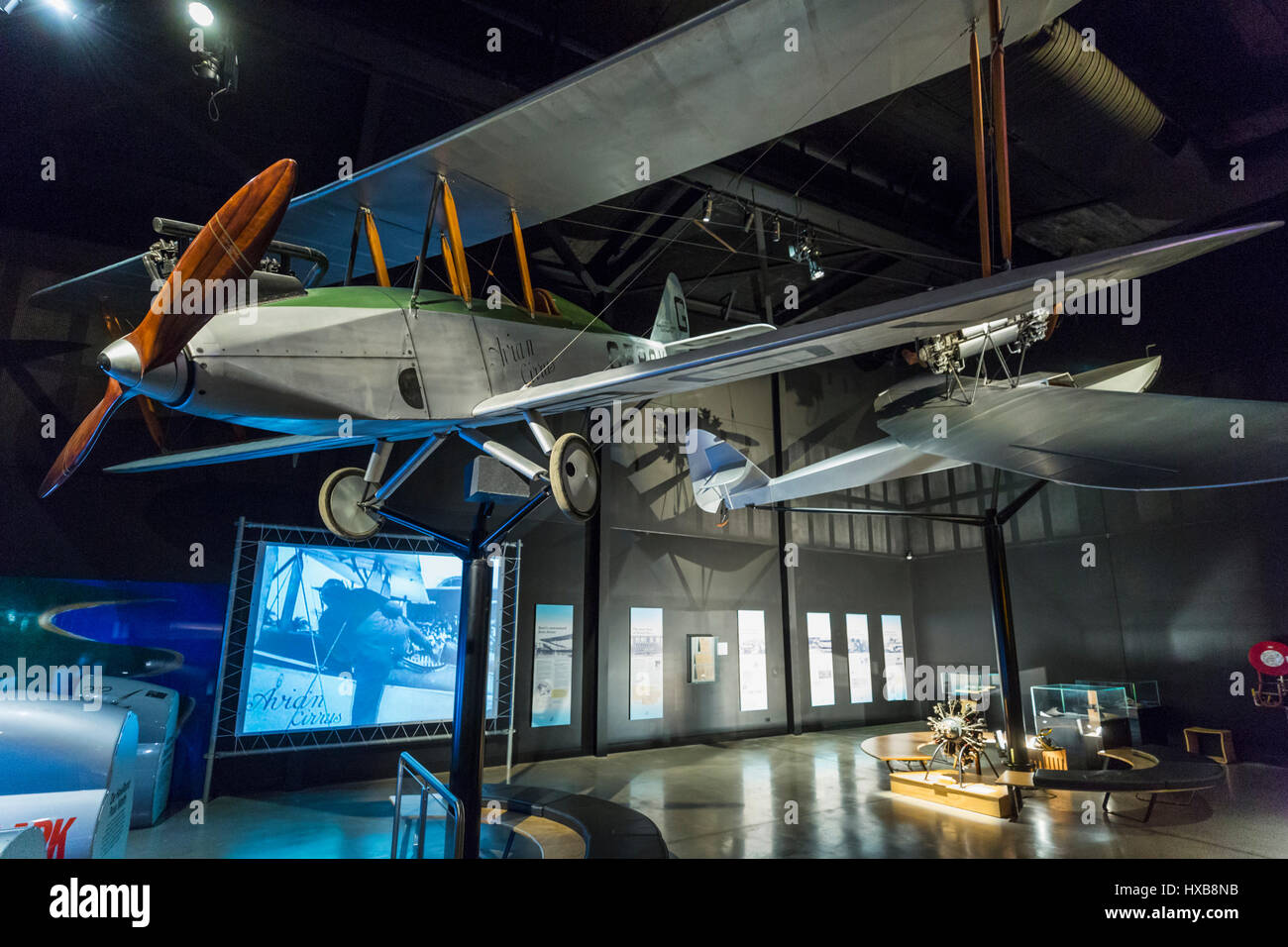 Replica aircraft including the Avro Avian and interactive exhibits inside the Hinkler Hall of Aviation.  Bundaberg, - Stock Image