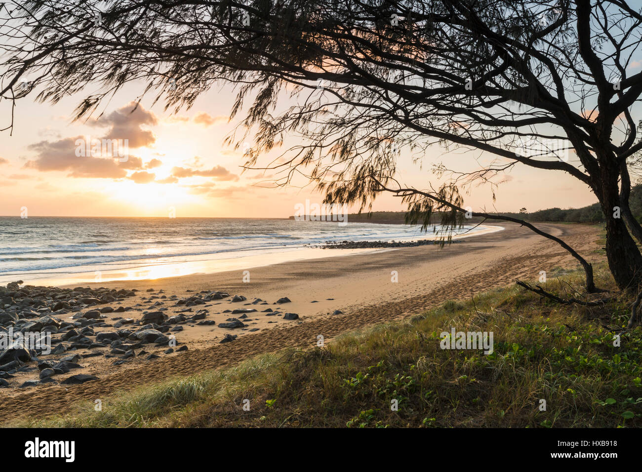Sunrise along Mon Repos beach.  Bundaberg, Queensland, Australia - Stock Image