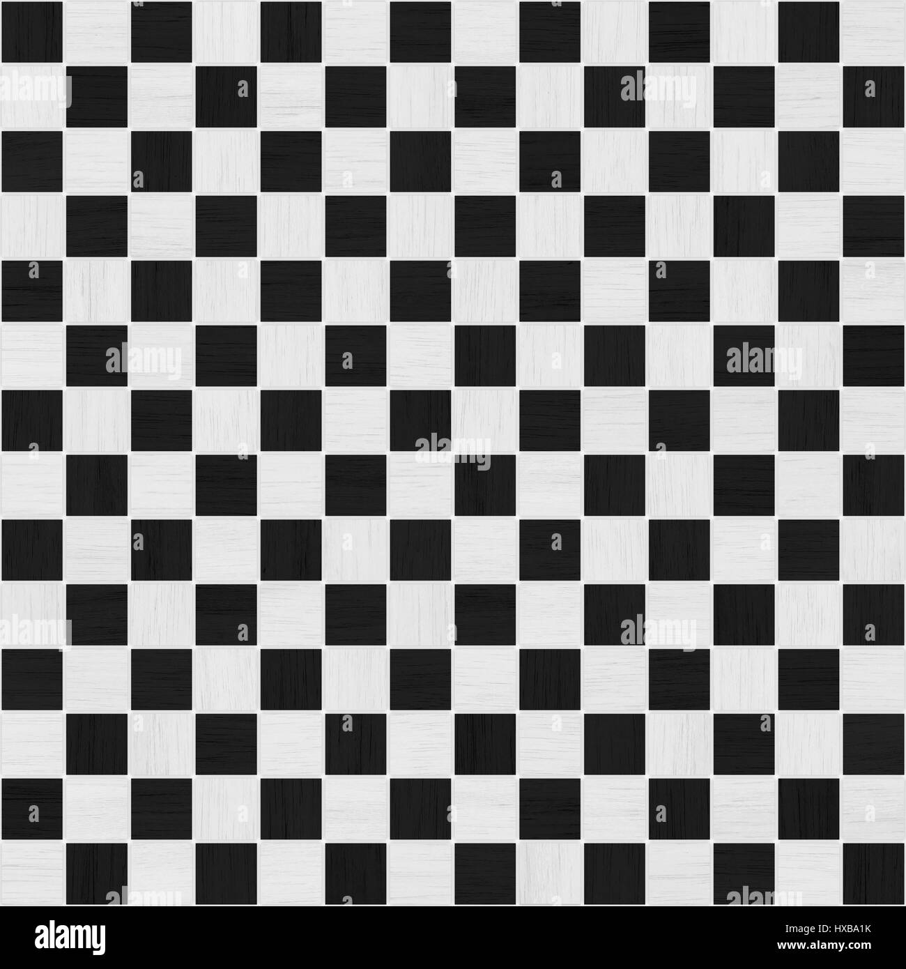 black and white wood checker tile seamless texture - Stock Image