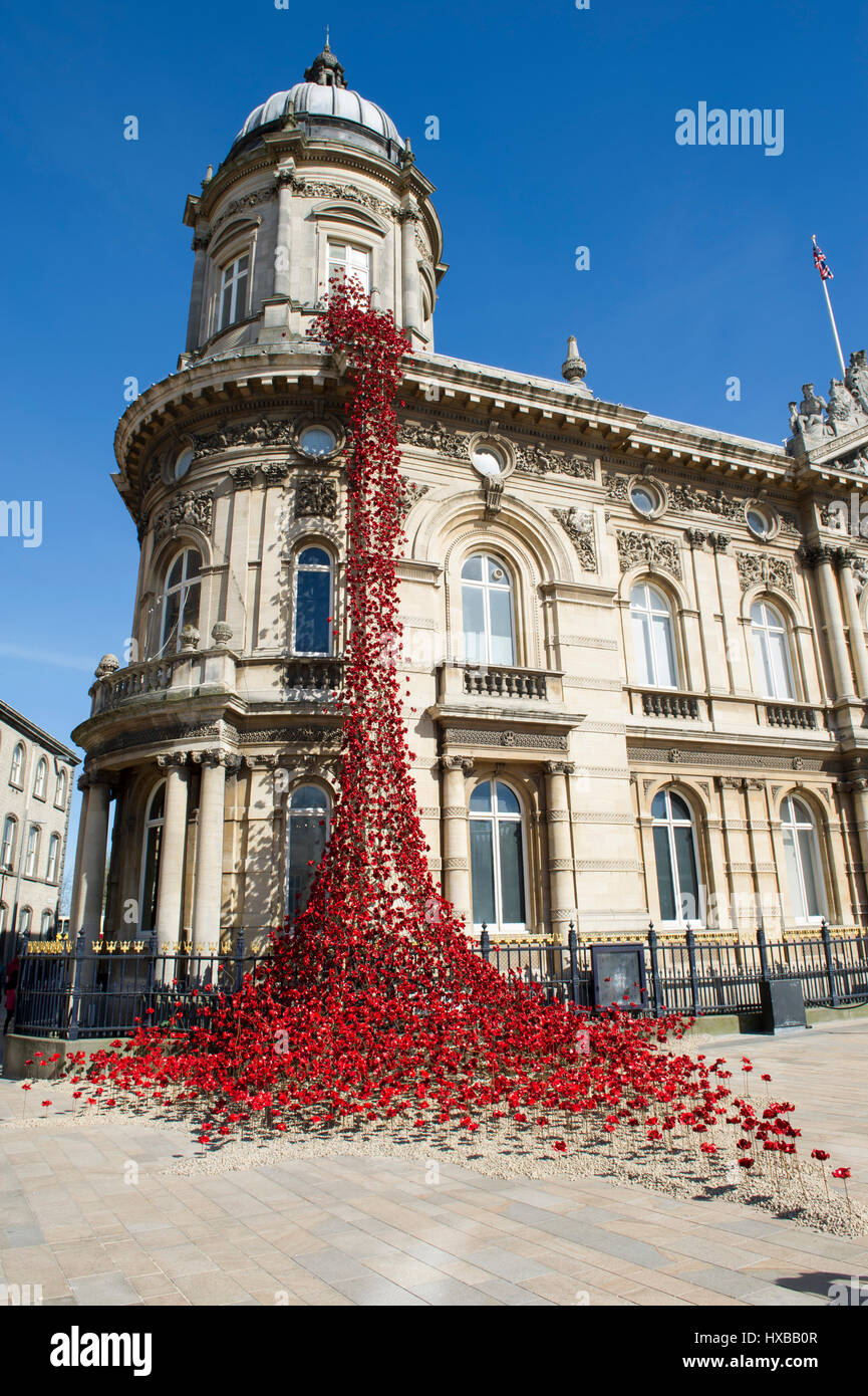 The Weeping Window of Poppies at Hull Maritime Museum in Kingston Upon Hull, UK City Of Culture 2017 - Stock Image