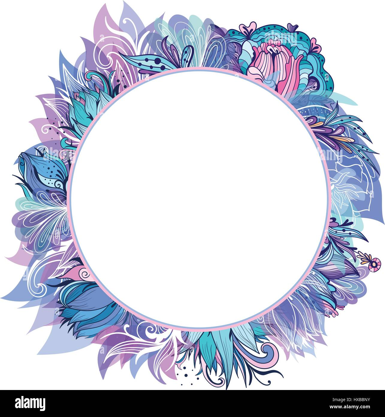 Circle frame with blue and purple lotus, lily and peony sketch Stock ...