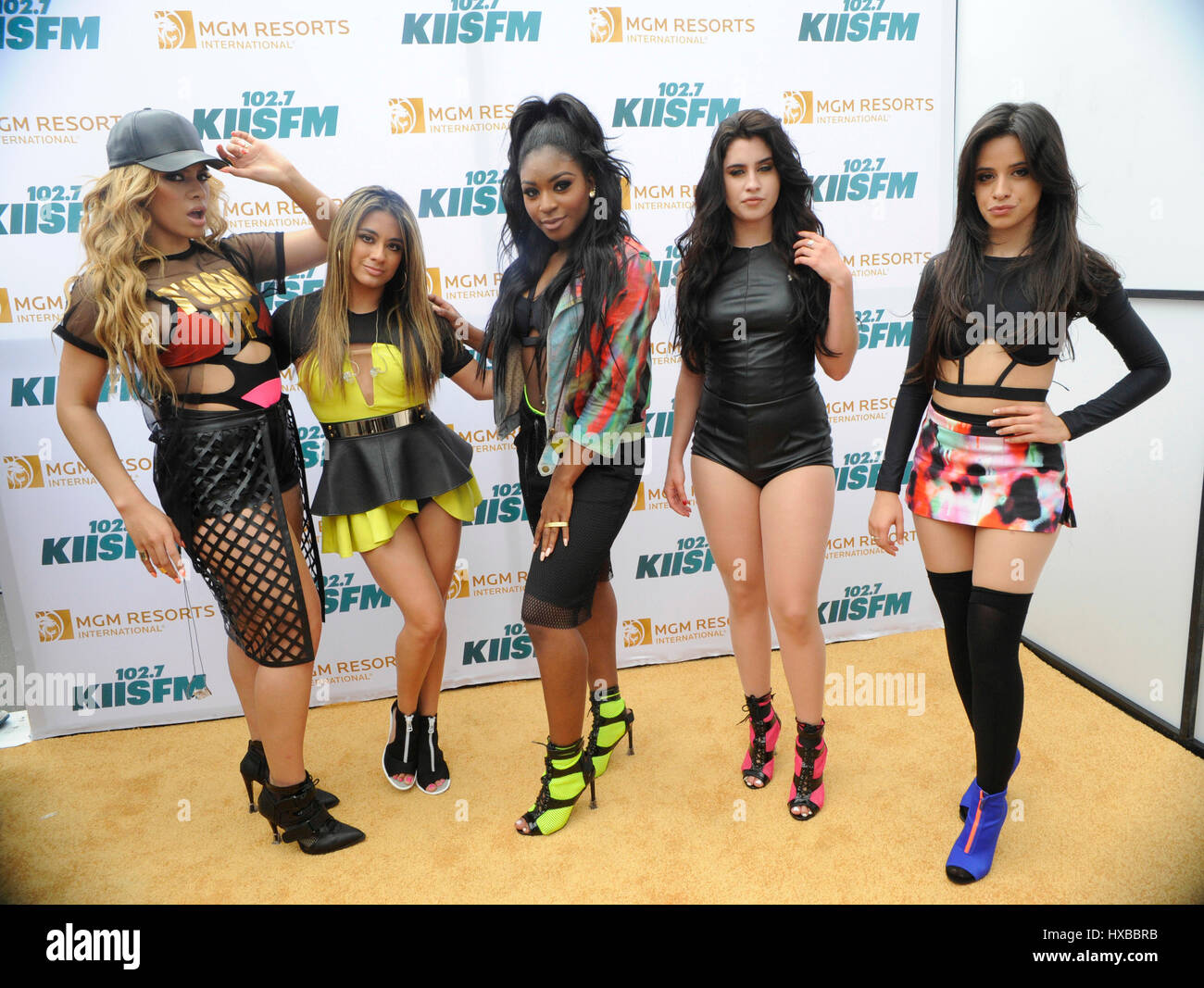 Fifth Harmony backstage on the red carpet at the 2015 KIIS FM Wango Tango Village Stage at the StubHub Center on - Stock Image