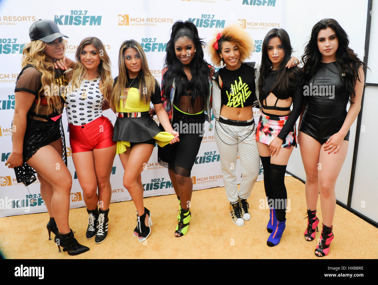 Fifth Harmony and Wildstyle backstage on the red carpet at the 2015 KIIS FM Wango Tango Village Stage at the StubHub - Stock Image