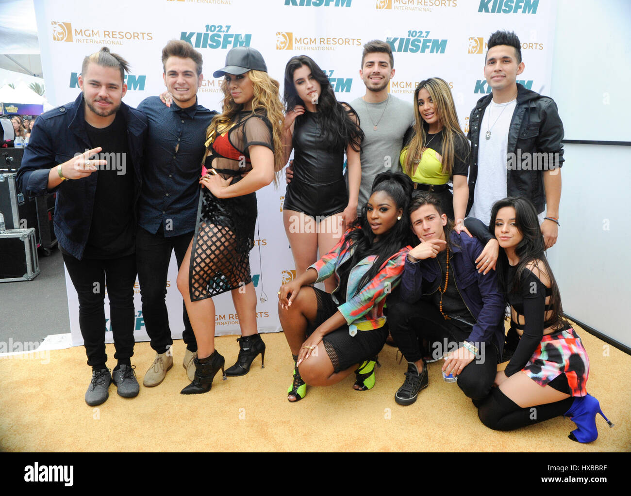 Fifth Harmony and Los 5 backstage on the red carpet at the 2015 KIIS FM Wango Tango Village Stage at the StubHub - Stock Image