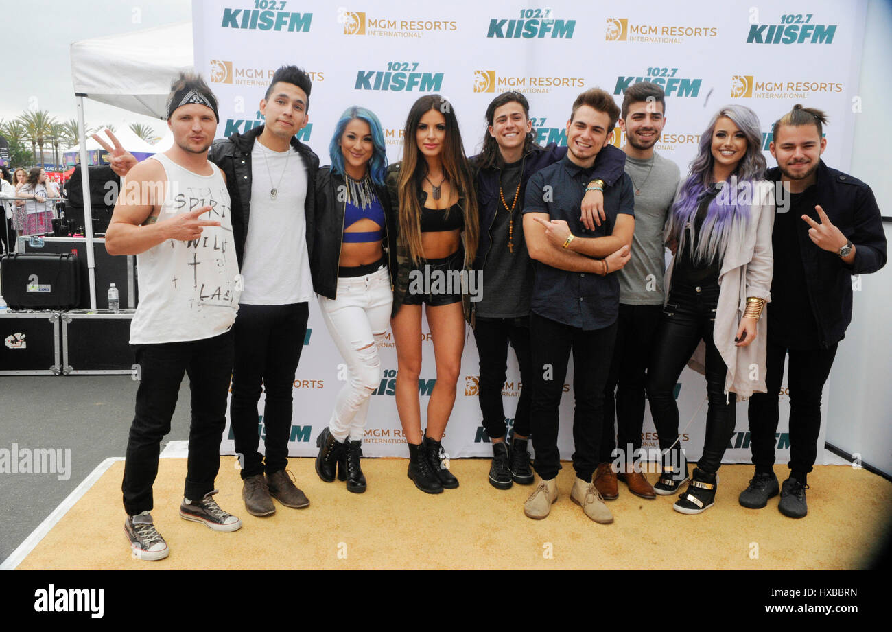 Syd Youth and Los 5 backstage on the red carpet at the 2015 KIIS FM Wango Tango Village Stage at the StubHub Center - Stock Image
