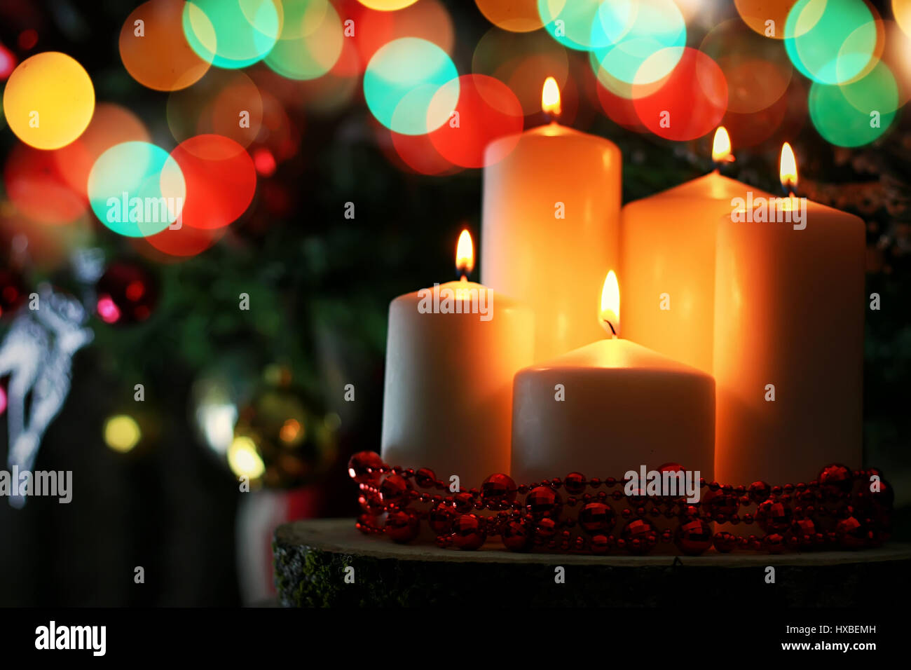 candle decor bokeh ball Stock Photo