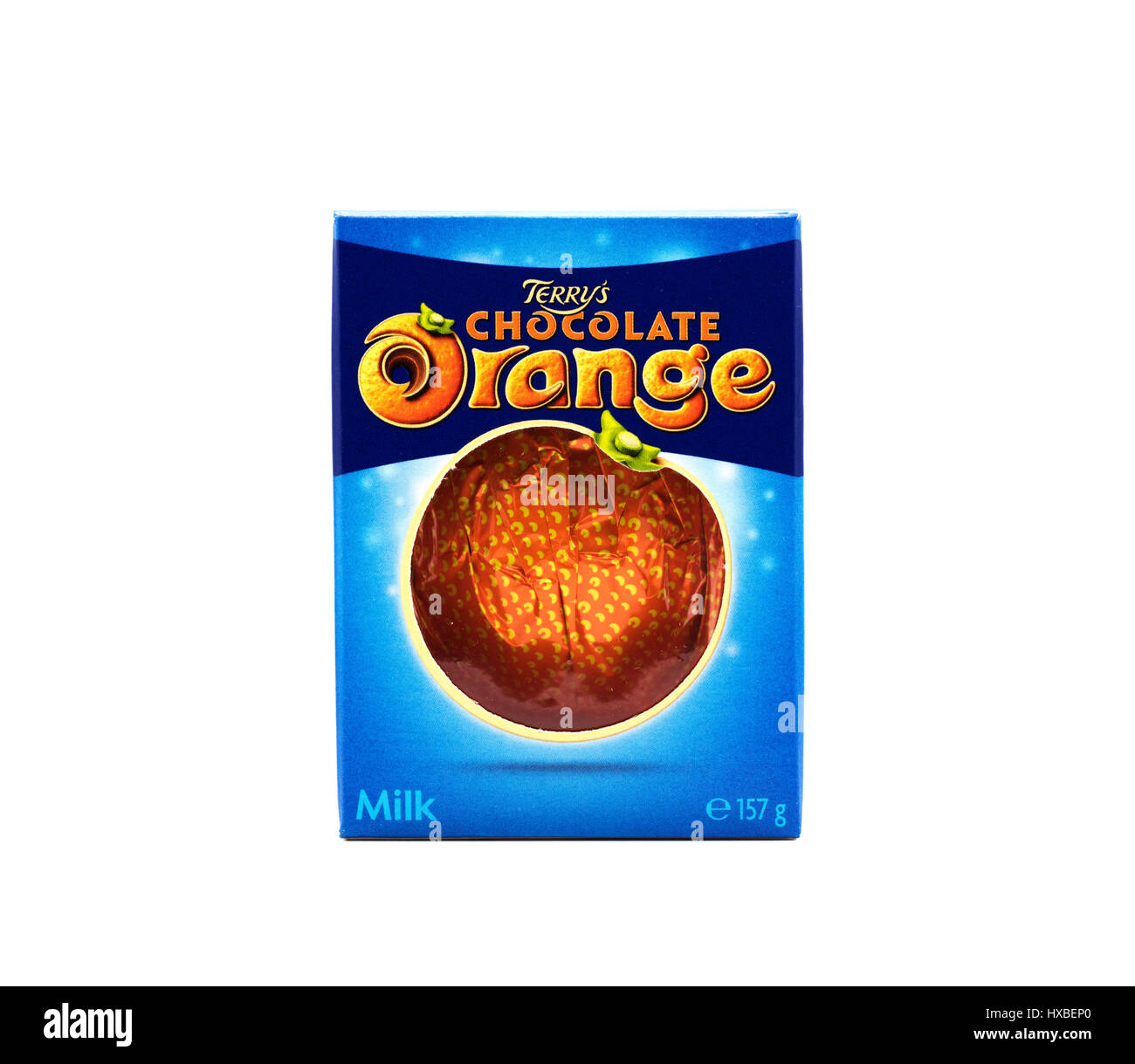 A Terry S Chocolate Orange On A White Background Stock Photo