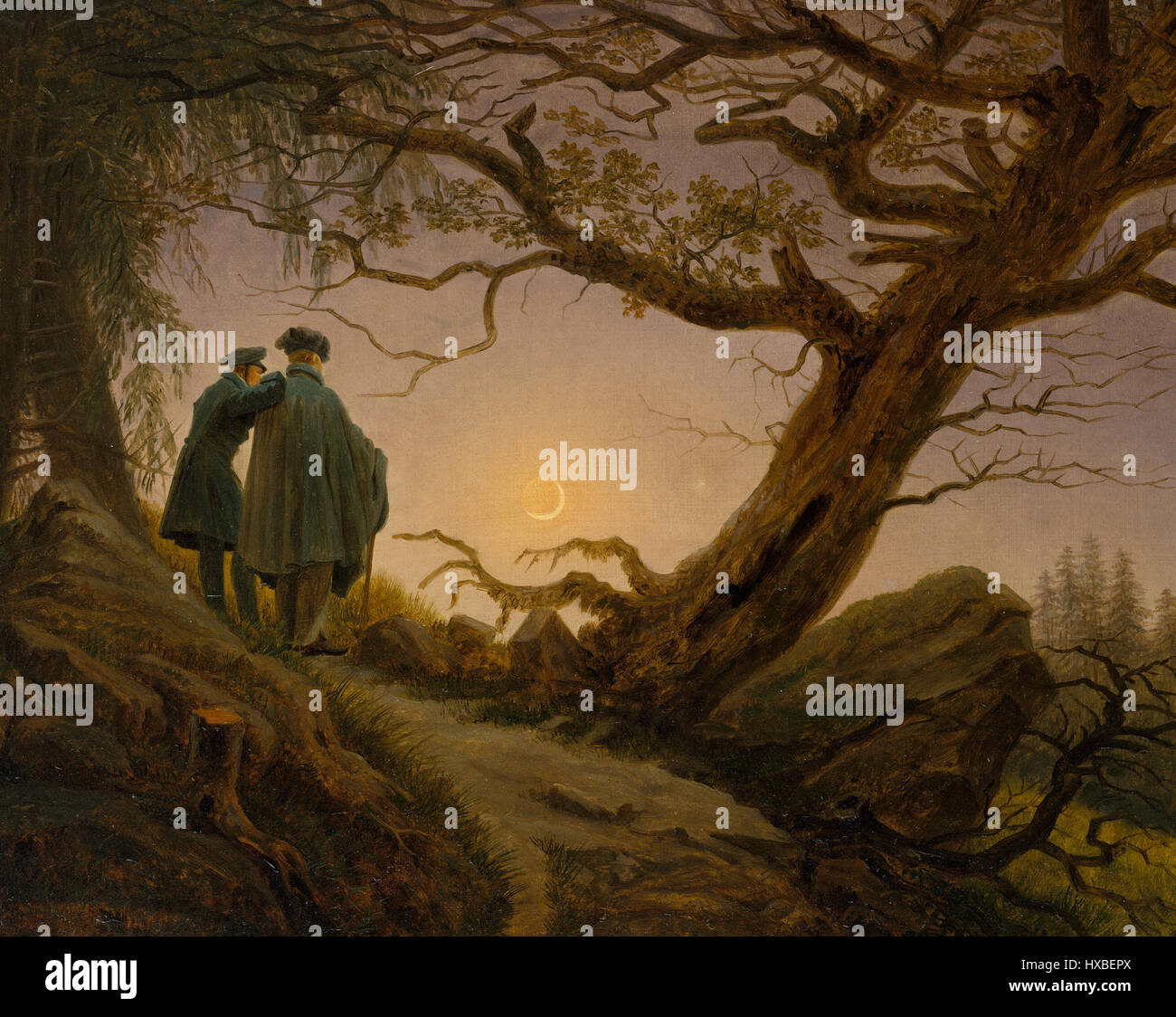 Two Men Contemplating the Moon by Caspar David Friedrich - Stock Image