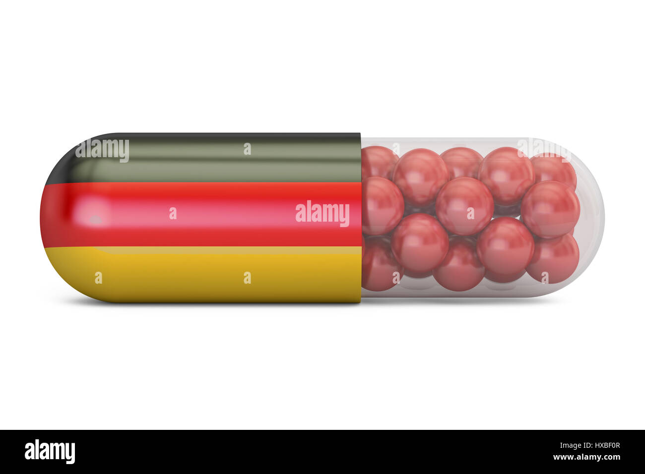 Pill capsule with Germany flag. German health care concept, 3D rendering - Stock Image