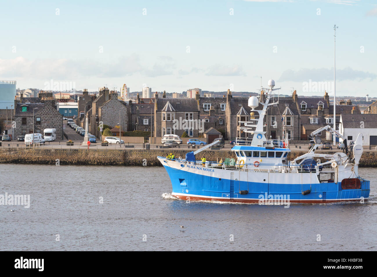 Marine Scotland Fisheries Research Vessel entering Aberdeen Harbour, Scotland, UK - Stock Image