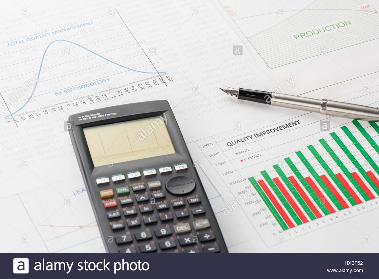 Scientific calculator pen stock photos scientific calculator pen efficiency of quality management is shown by graphics stock image ccuart Images