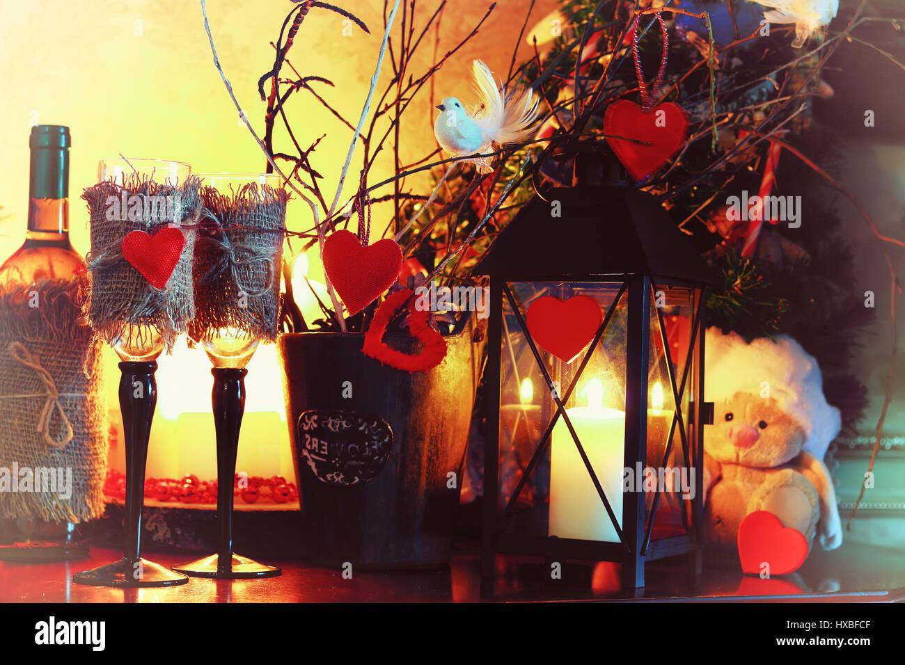 valentine day wine bottle fairy - Stock Image