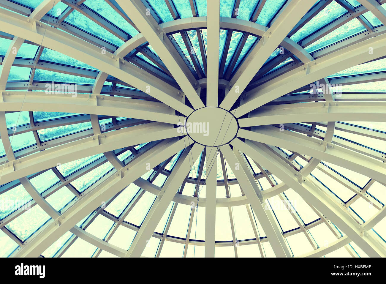 glass construction roof winter - Stock Image