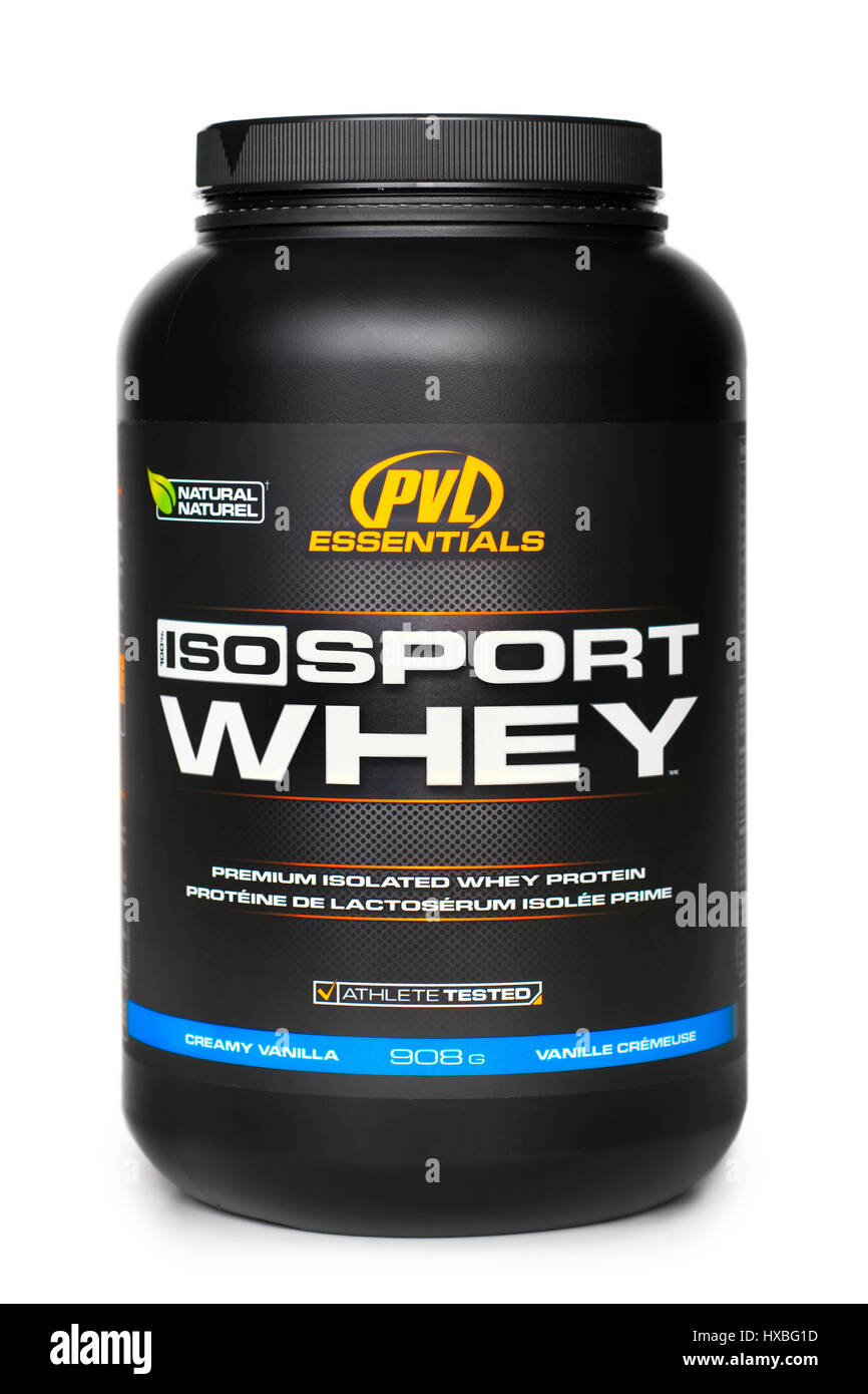 Whey Protein Isolate, Jar of Isolated Whey Protein Powder, Bodybuilding Supplements - Stock Image