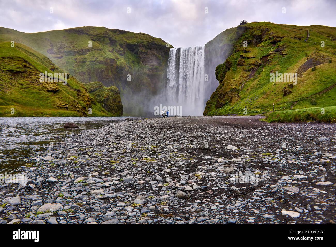 Skogafoss waterfall southern Iceland - Stock Image