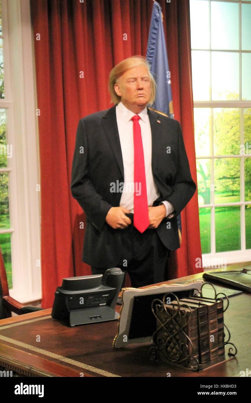 Donald Trump, London, United Kingdom - March 20, 2017: Donald Trump USA president wax waxwork portrait figure at - Stock Image
