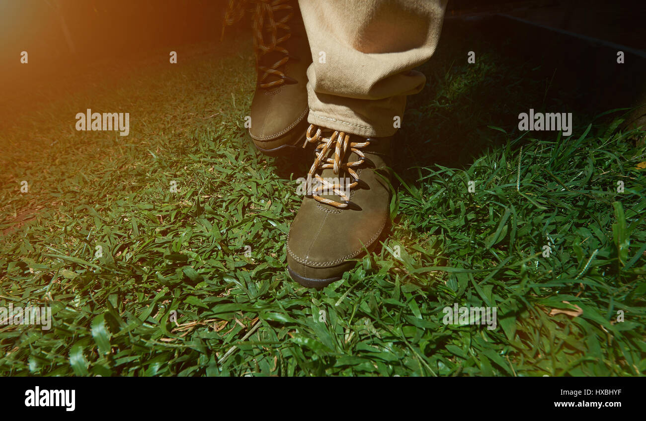 Making Step On Green Grass In Brown Shoes Adventure Hiking