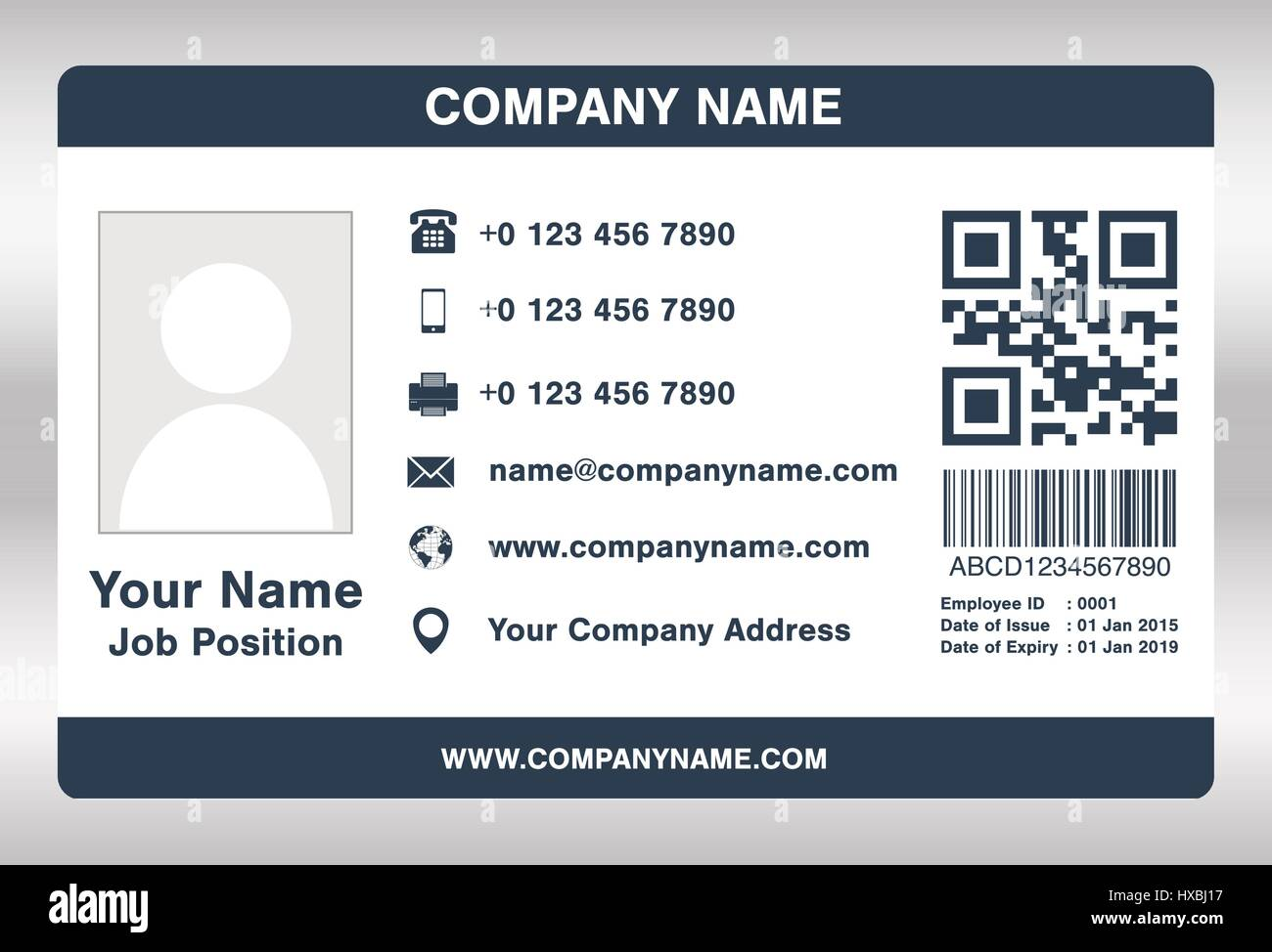 simple blue employee id card template vector stock vector art