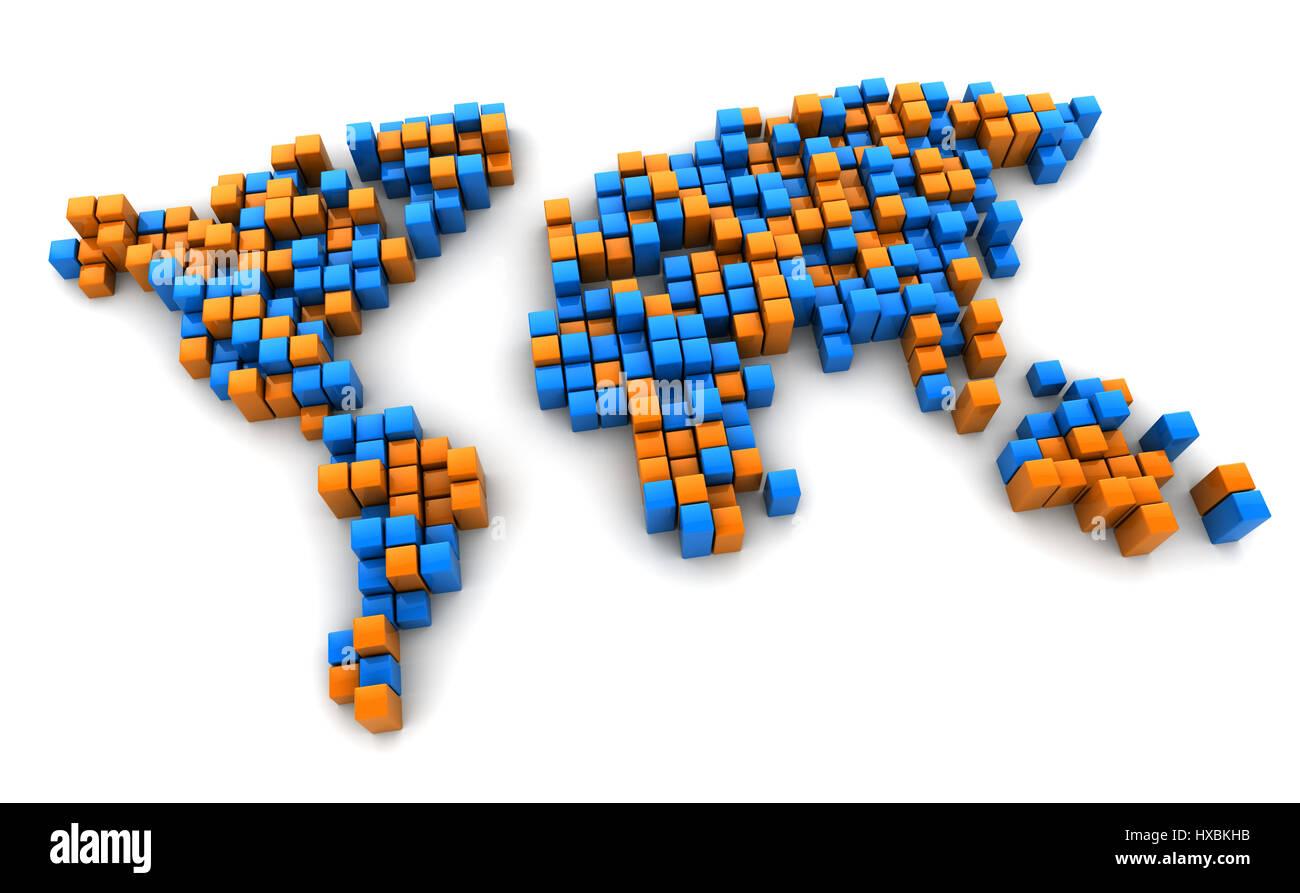 3d Illustration Of Digital World Map Orange And Blue Stock Photo