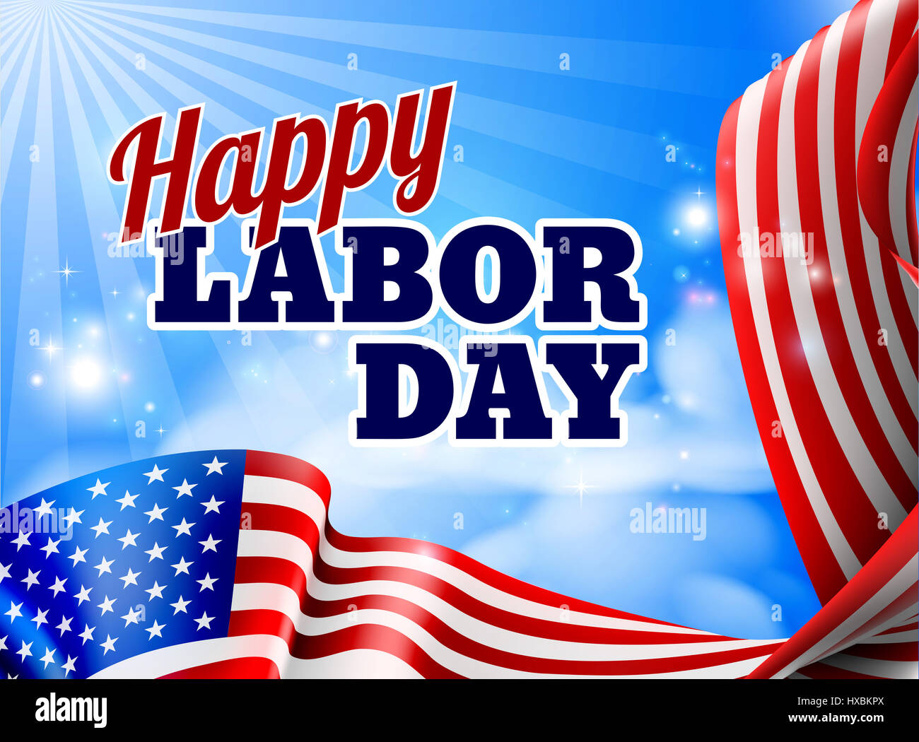 a happy labor day design with an american flag banner border and sky
