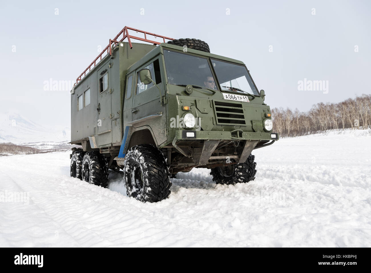 Old Swedish military car Volvo Laplander C304 (6WD) khaki color, used in Kamchatka Peninsula as a touristic, rides - Stock Image