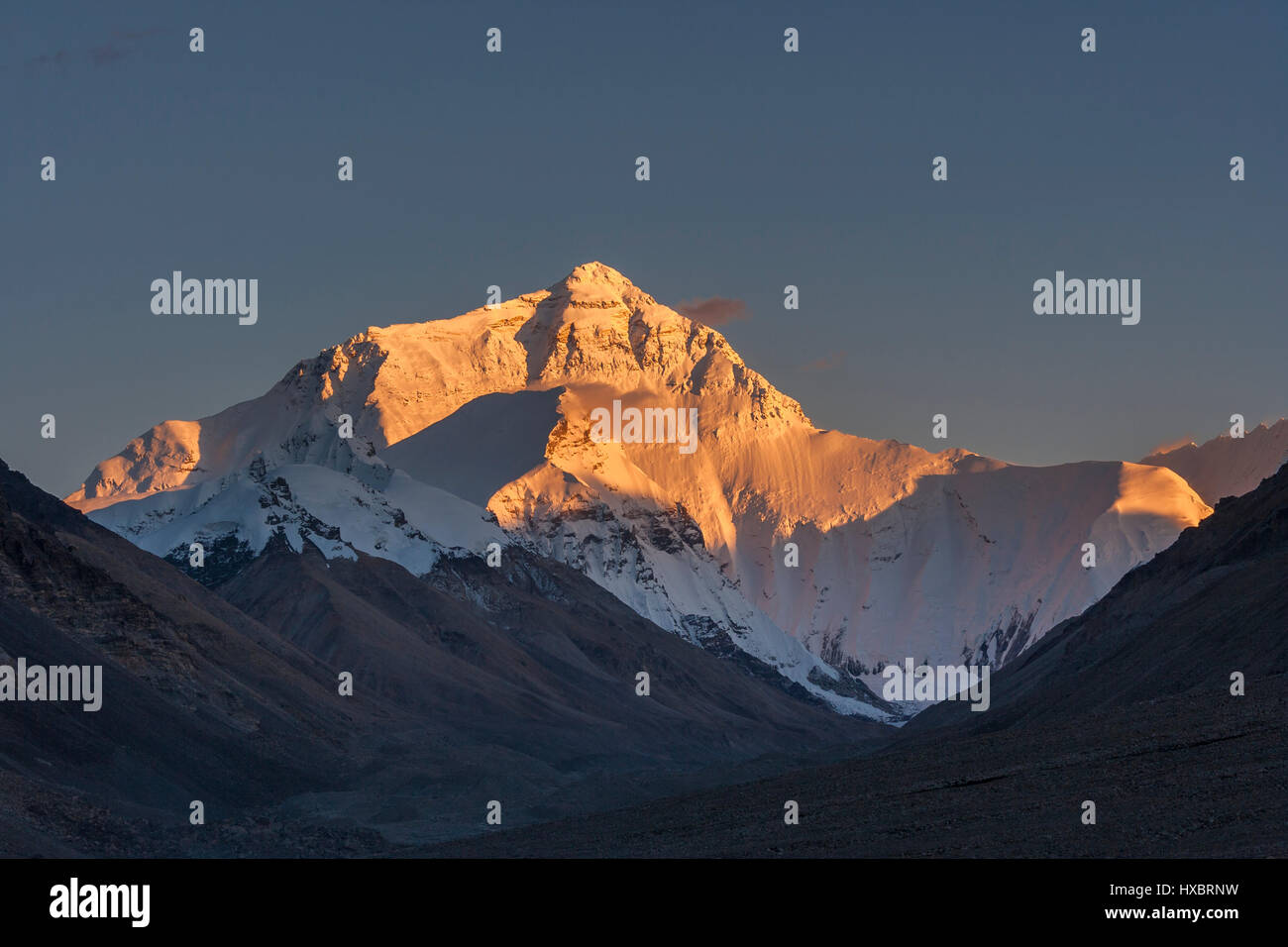 Evening golden light on the north face of the Mount Everest - Stock Image