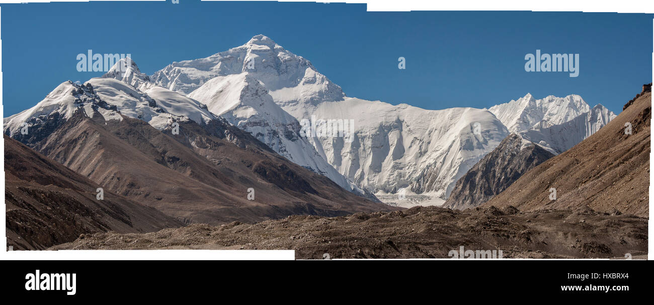 Multi photo Panorama of Changtse and Mount Everest - Stock Image