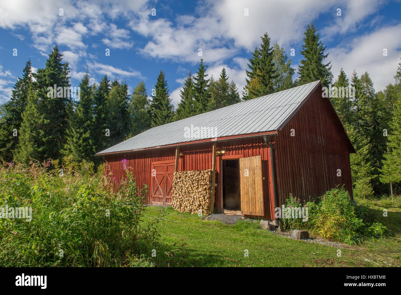 red barn in northern sweden - Stock Image