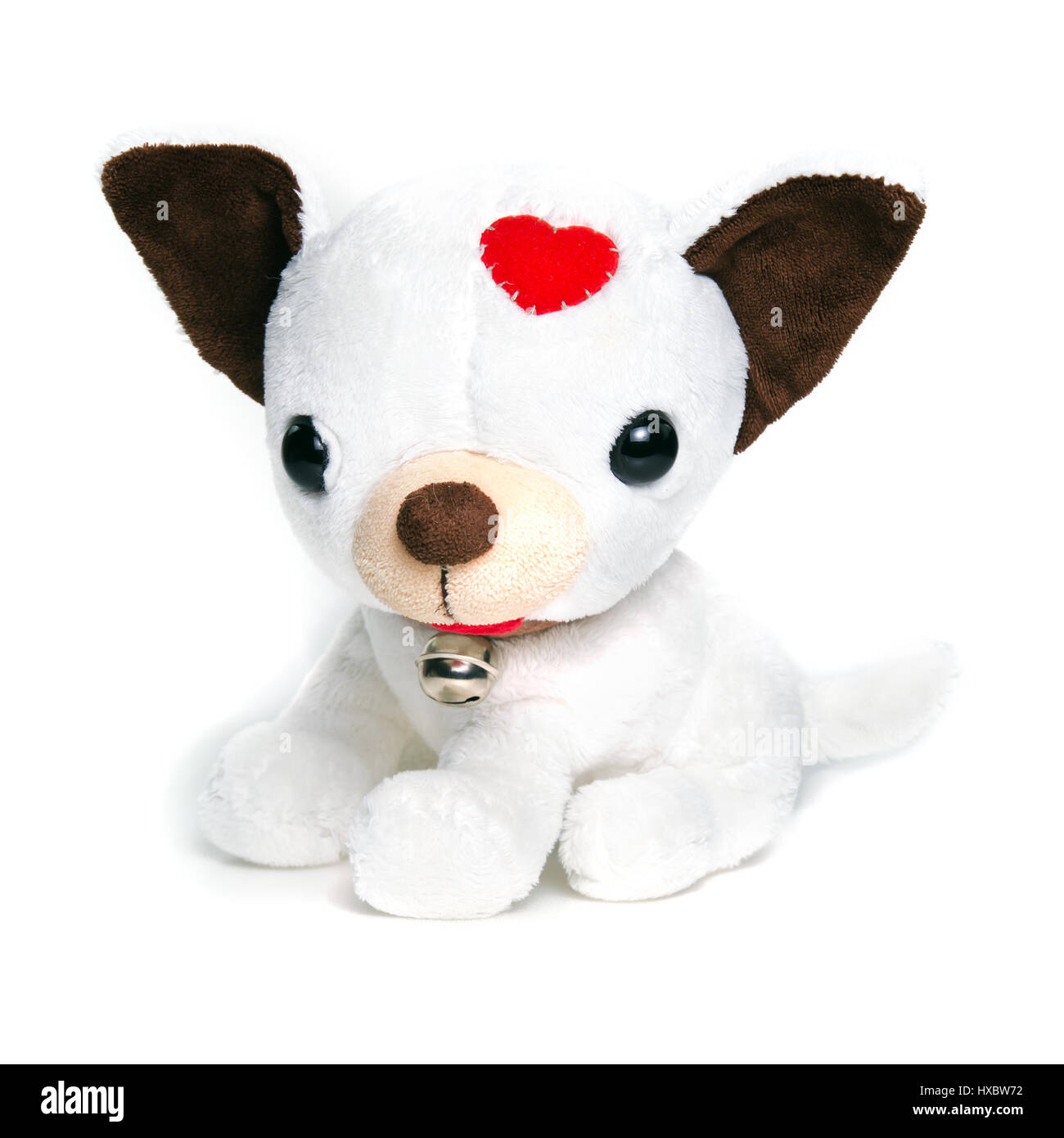 White puppy (dog) doll isolated on white with ring bell collar for decoration and graphic usage - Stock Image
