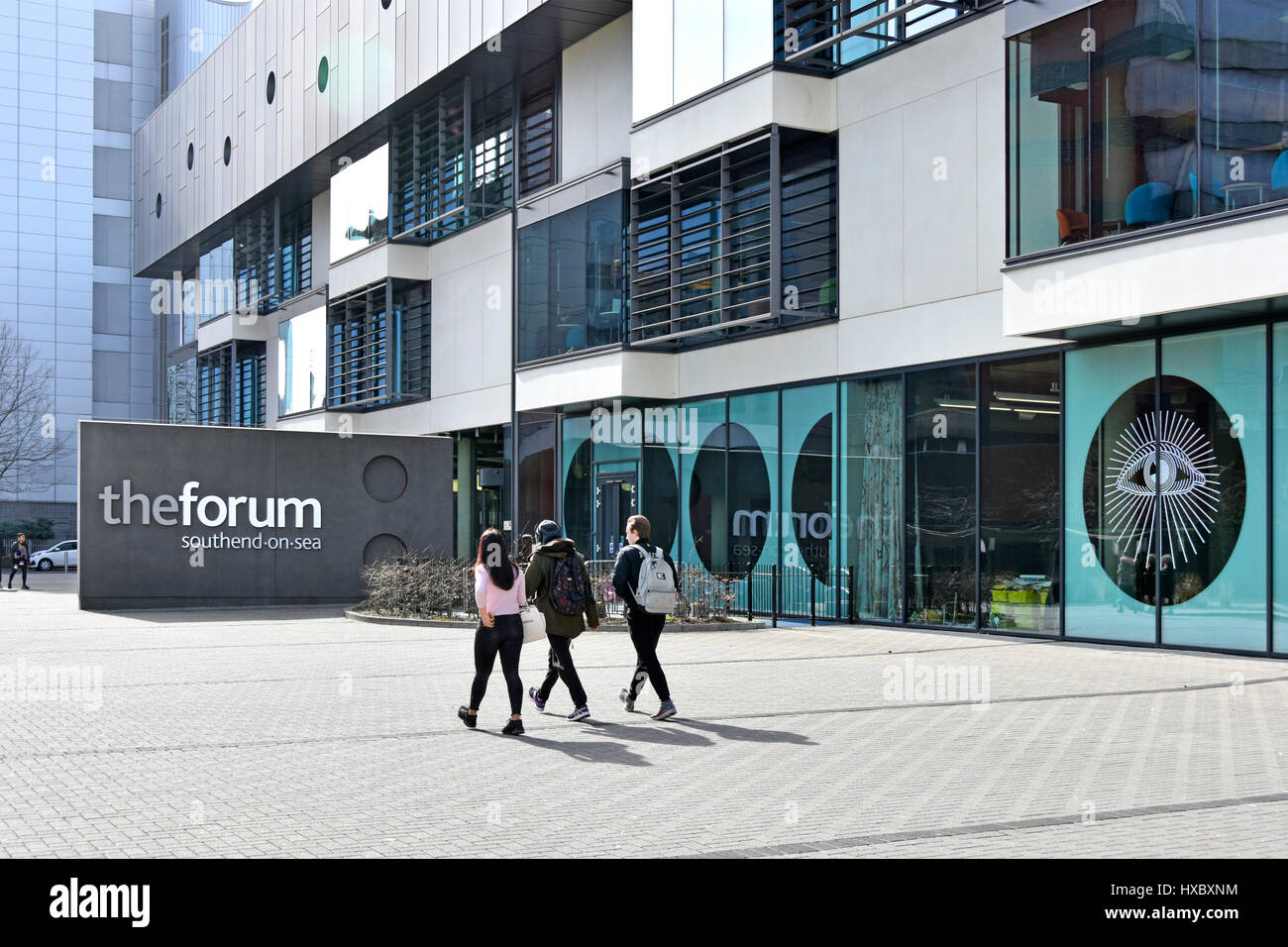 The Forum building in Southend Essex UK has academic links with local colleges & universities with modern library - Stock Image