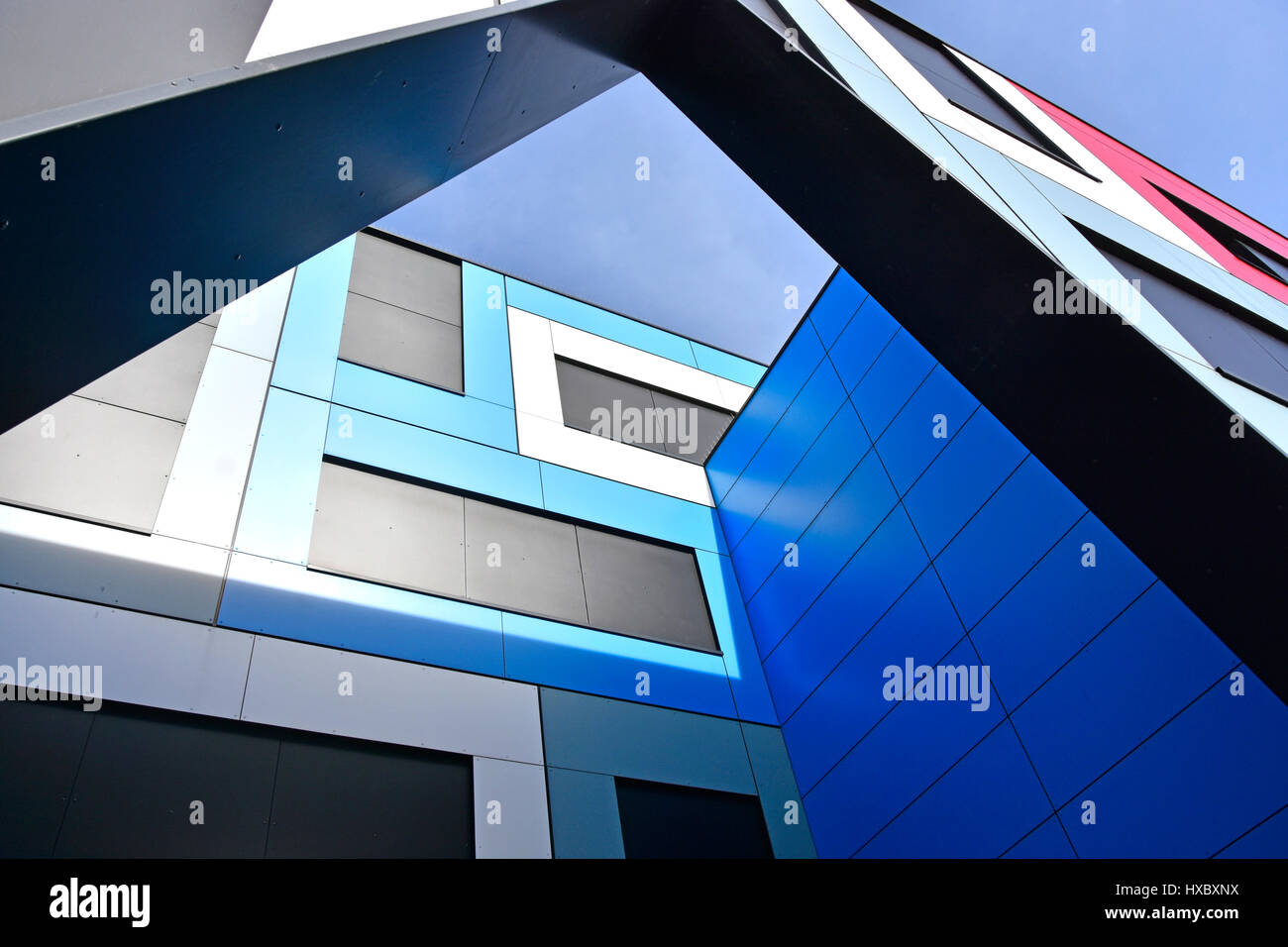 Modern architecture building & structure detail form abstract pattern shapes colour triangles rectangles and - Stock Image