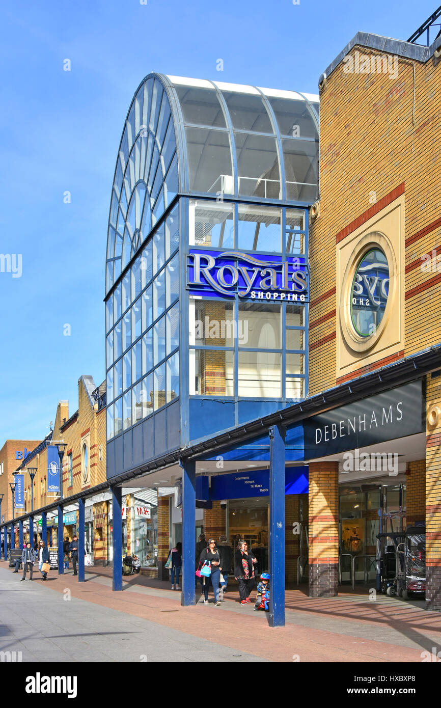 Southend on Sea Essex England UK Royals shopping center entrance to malls & Debenhams store front in shoppers - Stock Image