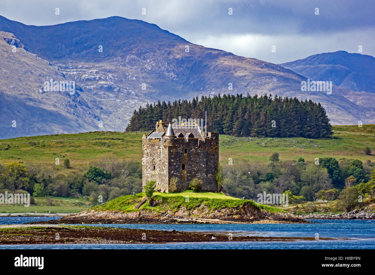 Castle Stalker at Loch Linnhe near Portnacroish (north) and Port Appin (south) in Argyll and Bute Scotland UK - Stock Image