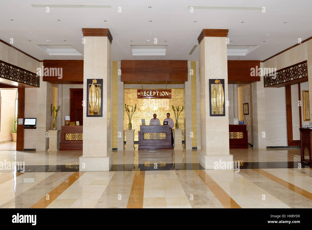 SHARM EL SHEIKH, EGYPT -  NOVEMBER 30: The lobby of Sunrise Arabian Beach Resort luxury hotel and smiling receptionists - Stock Image