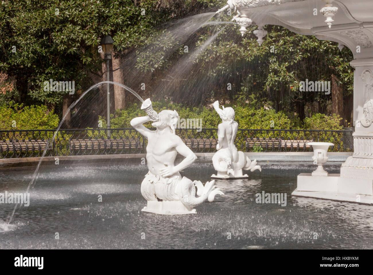 Fountain, Forsyth Park, Savannah, GA, USA - Stock Image
