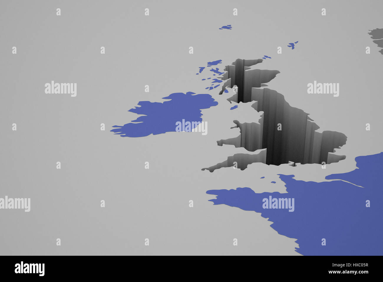 Big Map Of England.3d Illustration Of England Leaving A Big Hole In The Europe Map