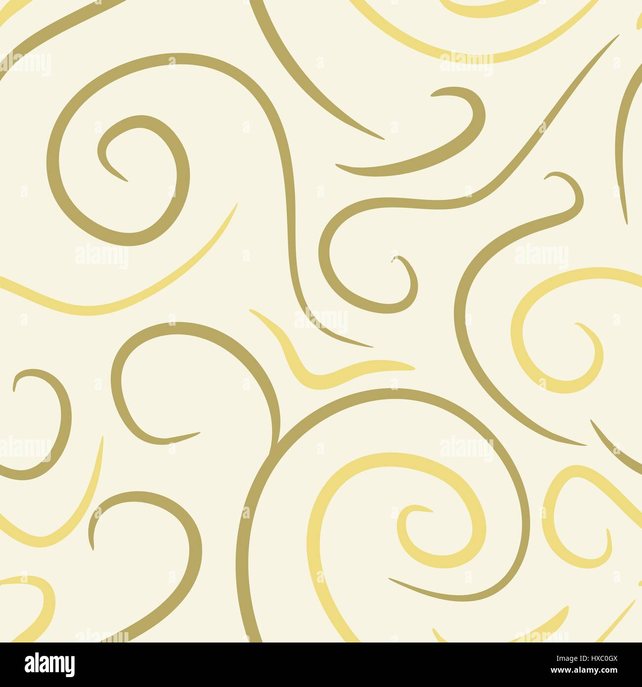 abstract vector colored swirls seamless pattern - yellow - Stock Image