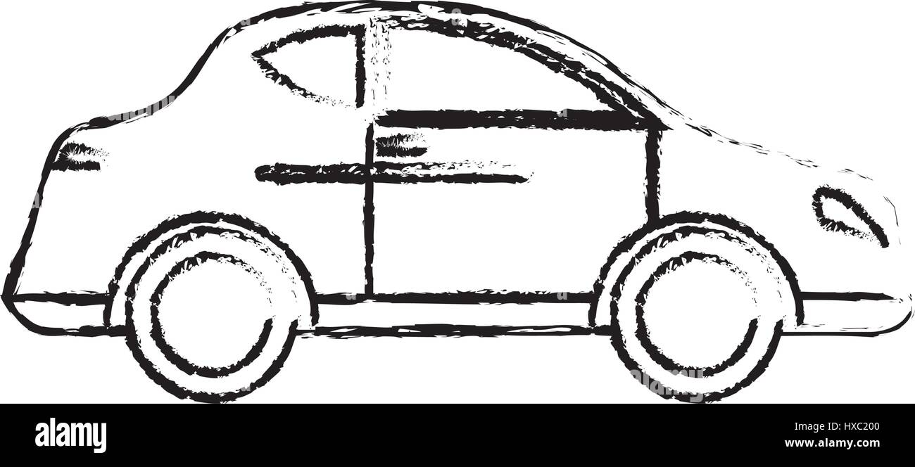 car transport vehicle style sketch - Stock Image