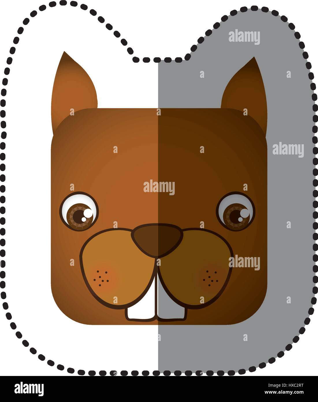 colorful face sticker of squirrel in square shape - Stock Image