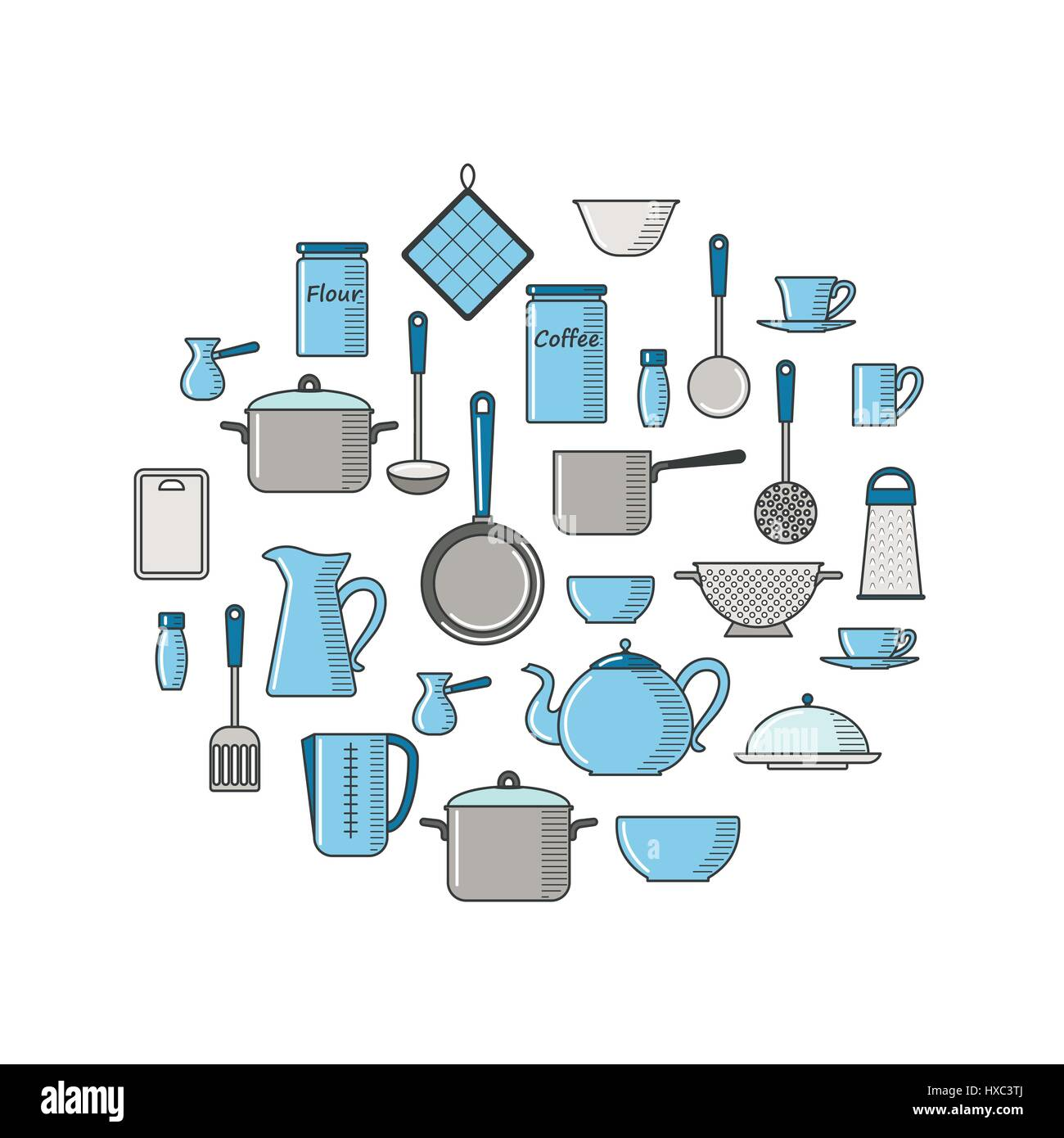 Thin line illustration with kitchen utensils - Stock Vector
