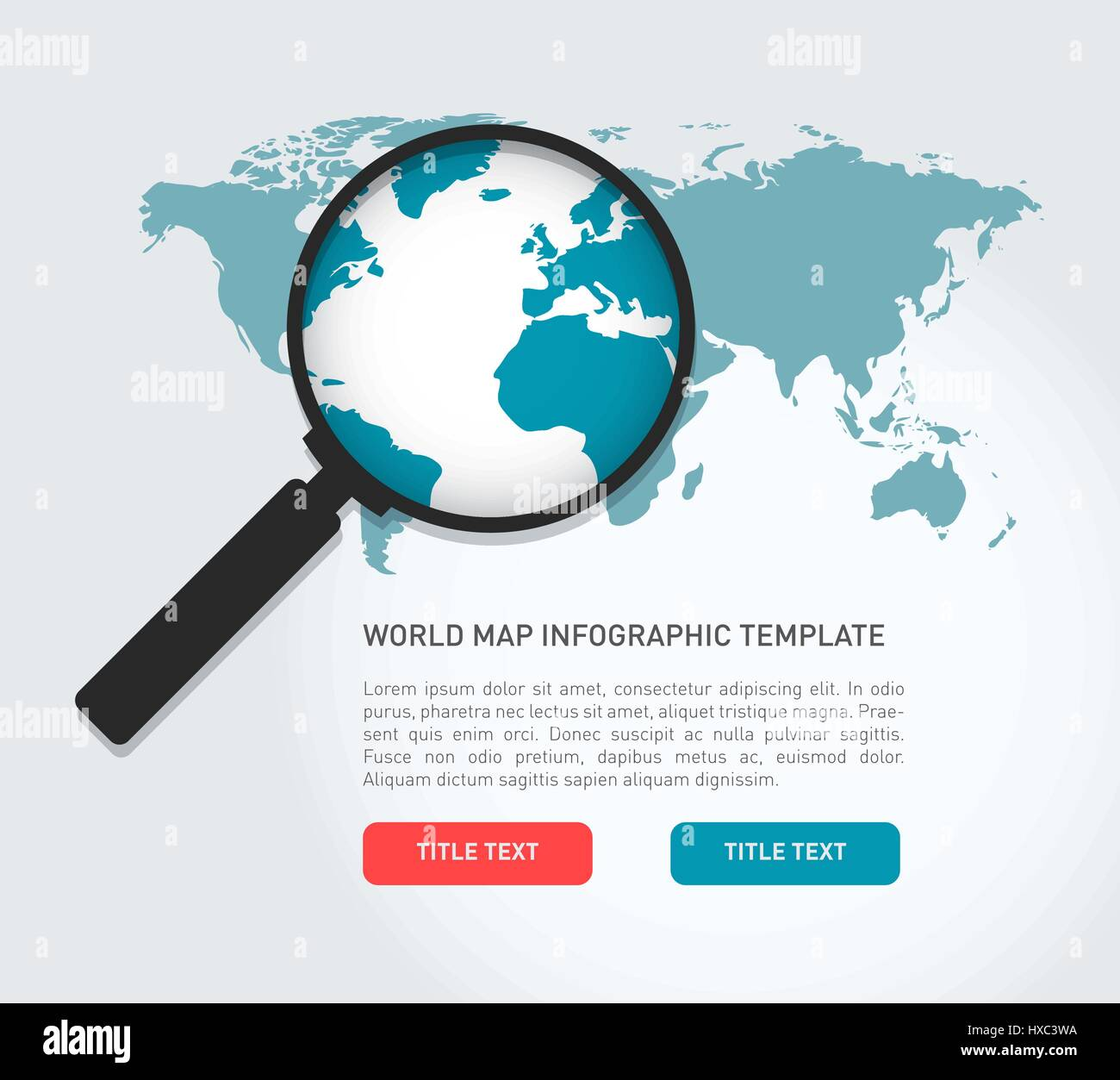 Global search concept in flat style - Stock Vector