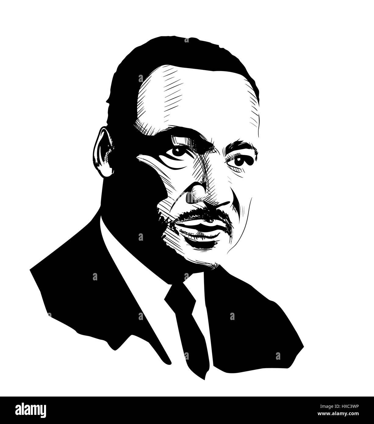 Martin Luther King Portrait Sketch Stock Vector Art Illustration