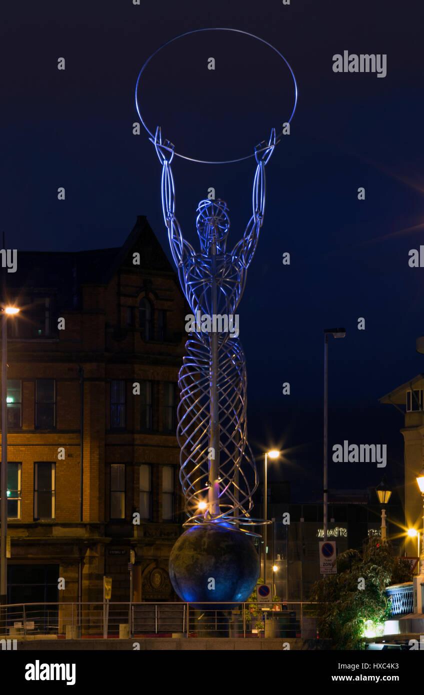 Beacon of Hope Statue, Belfast Northern Ireland - Stock Image