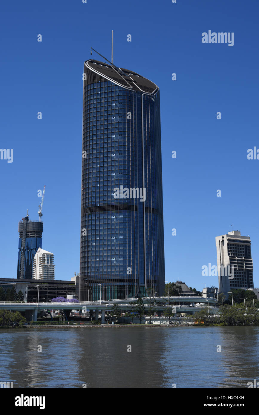 Brisbane, Australia: 1 William Street, the building housing much of the Queensland state government towers over - Stock Image