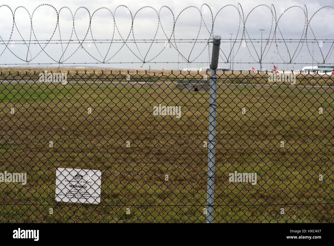 Brisbane, Australia: Barrier security fencing with razor wire at ...