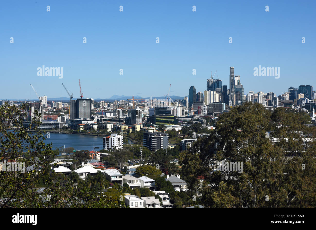 Brisbane, Australia: Panoramic view of Brisbane from Bartleys Hill lookout at Hamilton. - Stock Image
