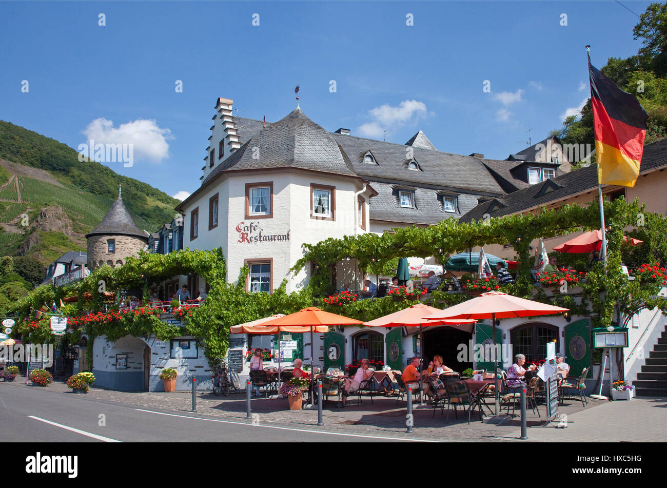 Restaurant, Catering, Beilstein on the Moselle, Rhineland-Palatinate, Germany - Stock Image