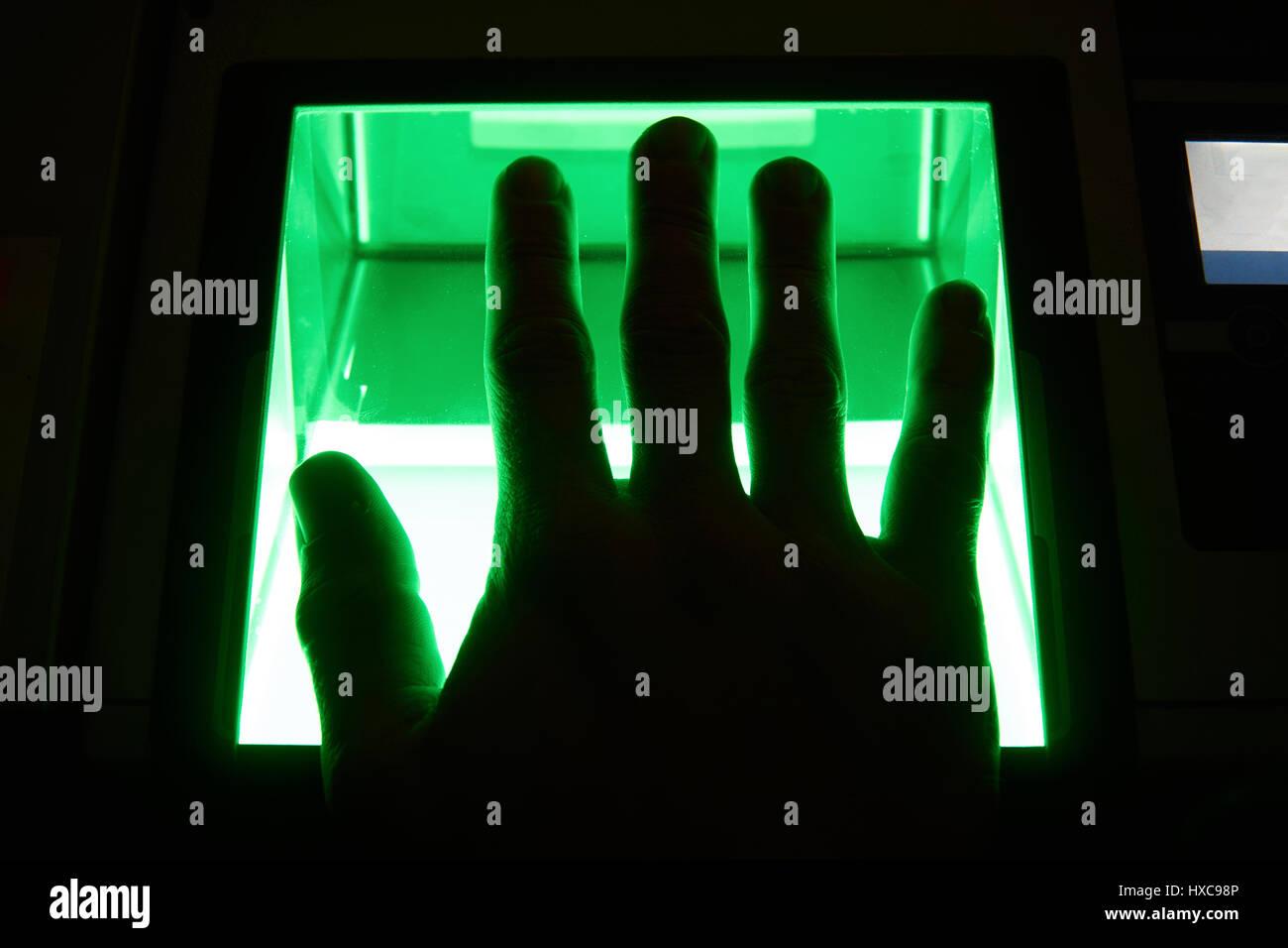cybersecurity digital fingerprint scanning - Stock Image