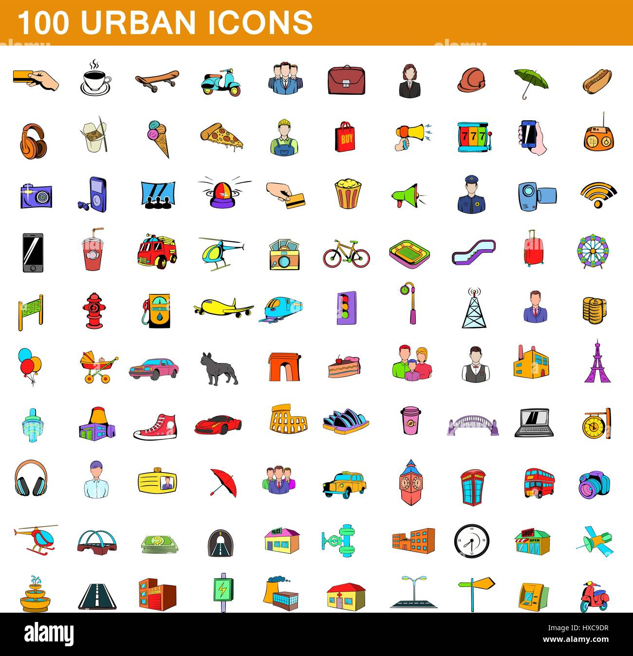 100 urban icons set, cartoon style  - Stock Vector