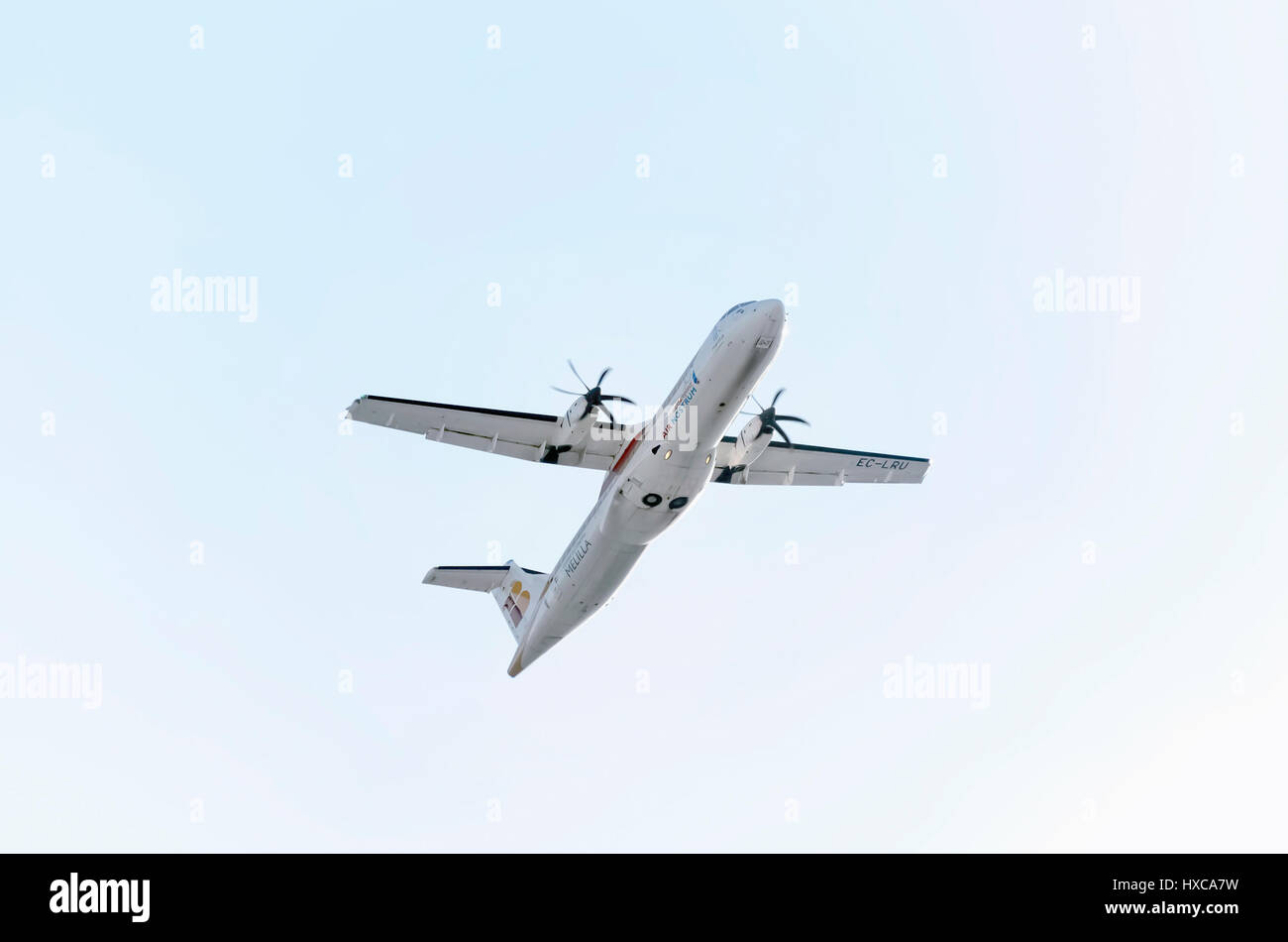 Plane ATR 72 600, of Air Nostrum airline, is taking off from Madrid - Barajas, Adolfo Suarez airport. Twin engines - Stock Image